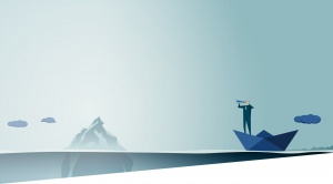 Illustration of a man in a paper boat looking through a telescope at a telescope with an iceberg in the distance.